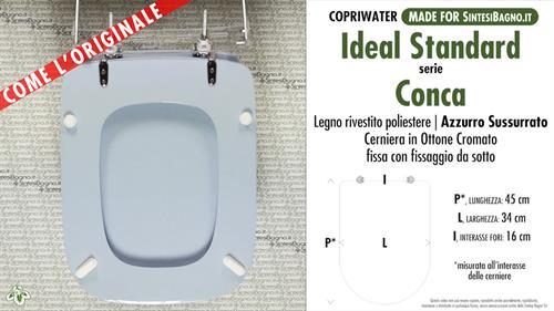 Sedile Wc Modello Conca.Copriwater Per Wc Conca Ideal Standard Azzurro Sussurrato Ricambio Dedicato Sintesibagno Shop Online