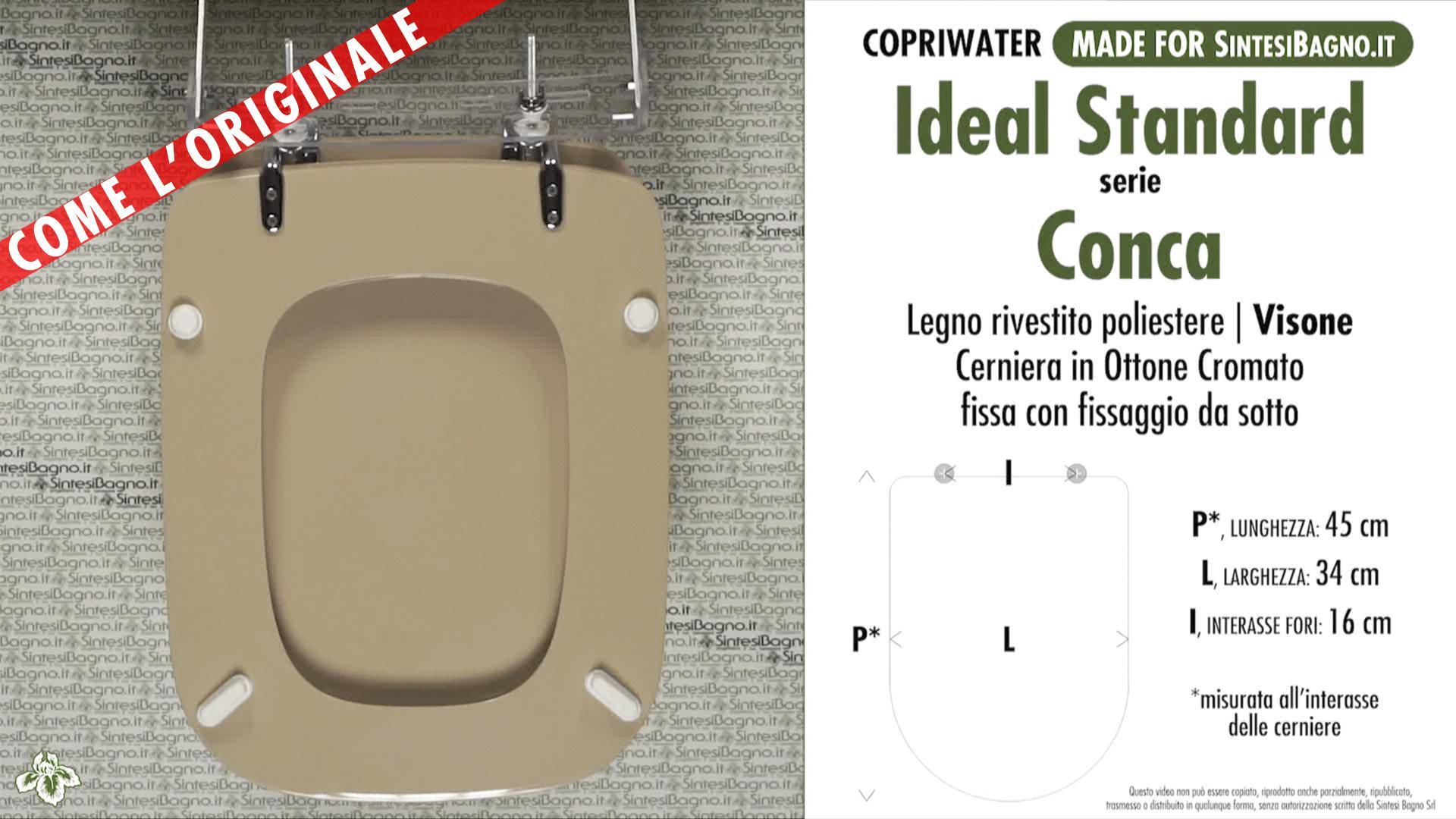 Sedile Wc Copriwater Bianco Ideal Standard Conca.Copriwater Per Wc Conca Ideal Standard Visone Ricambio Dedicato Sintesibagno Shop Online
