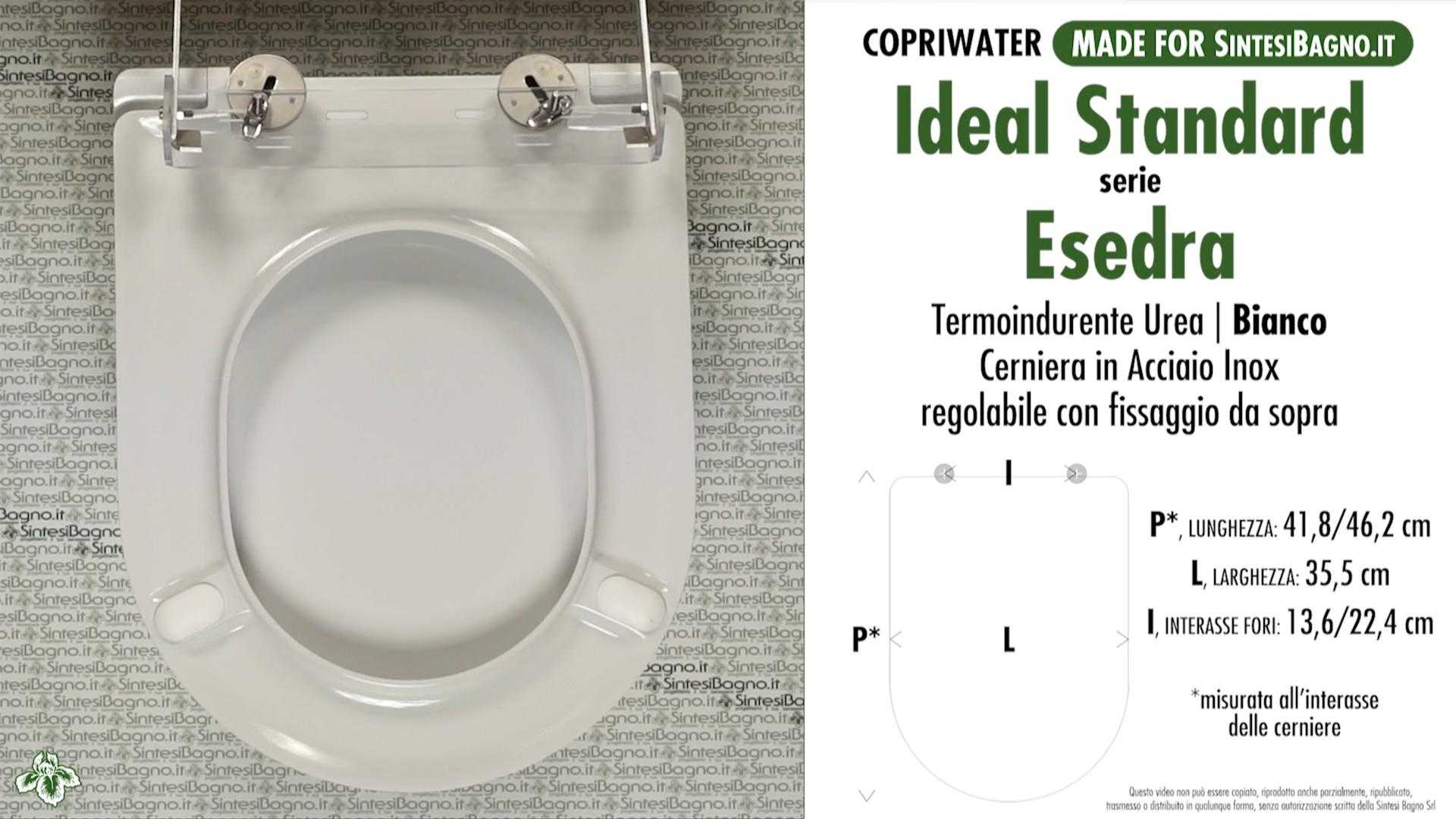 Sedile Wc Disabili Ideal Standard.Copriwater Per Wc Esedra Ideal Standard Soft Close Ricambio Dedicato Sintesibagno Shop Online