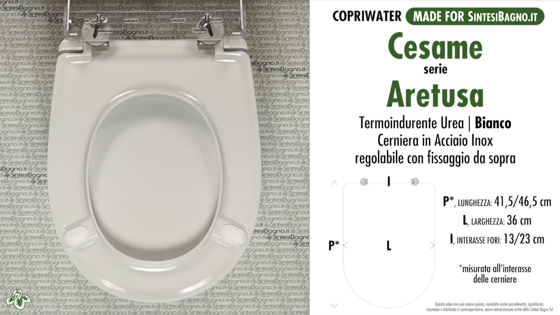 Sedile Wc Cesame Aretusa.Copriwater Per Wc Aretusa Cesame Ricambio Dedicato Duroplast Sintesibagno Shop Online
