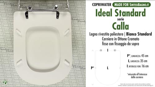 Sedile Wc Ideal Standard Calla.Wc Seat Made For Wc Calla Ideal Standard Model Standard White Type Dedicated Sintesibagno Shop Online