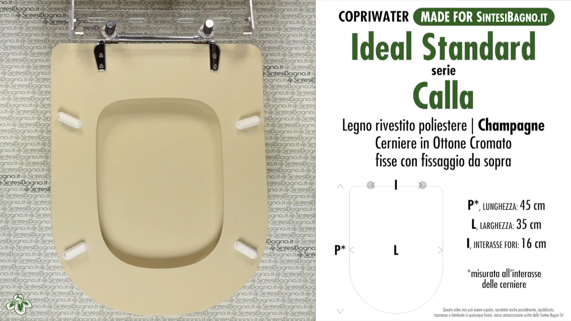 Copriwater per wc calla ideal standard champagne for Copriwater ideal standard