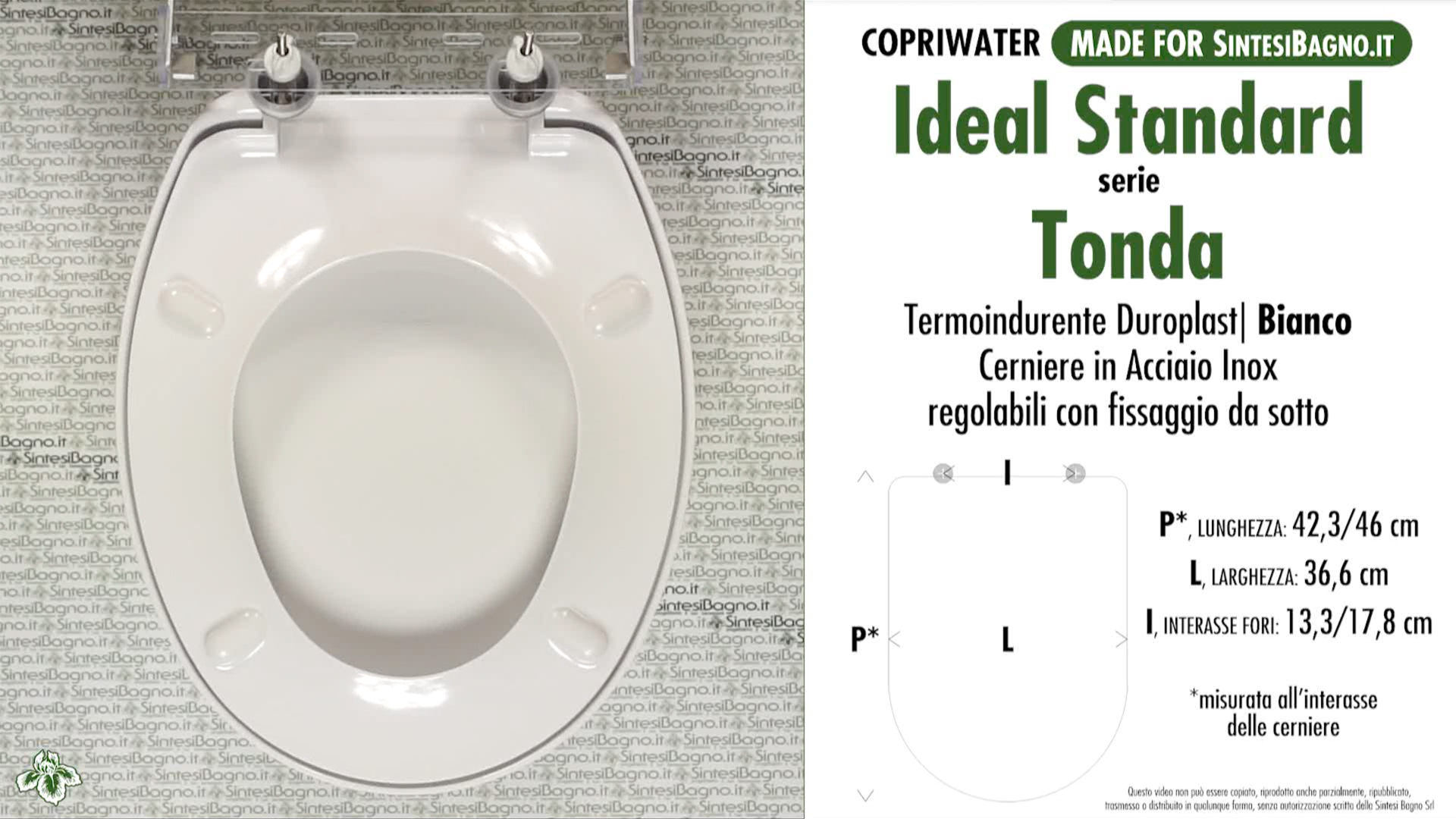 Copriwater per wc tonda ideal standard ricambio dedicato for Misure copriwater ideal standard