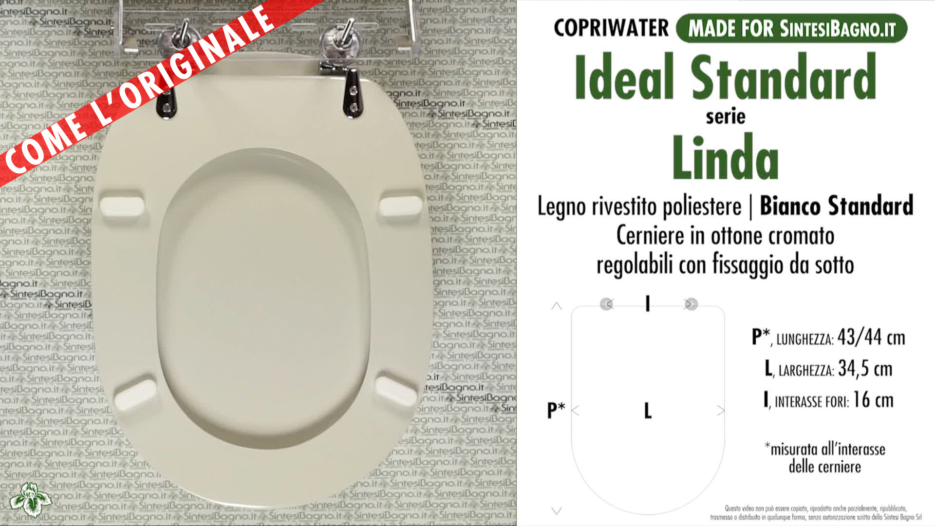 Sedile Copriwater Ideal Standard.Wc Seat Made For Wc Linda Ideal Standard Model Standard White Type Dedicated Sintesibagno Shop Online