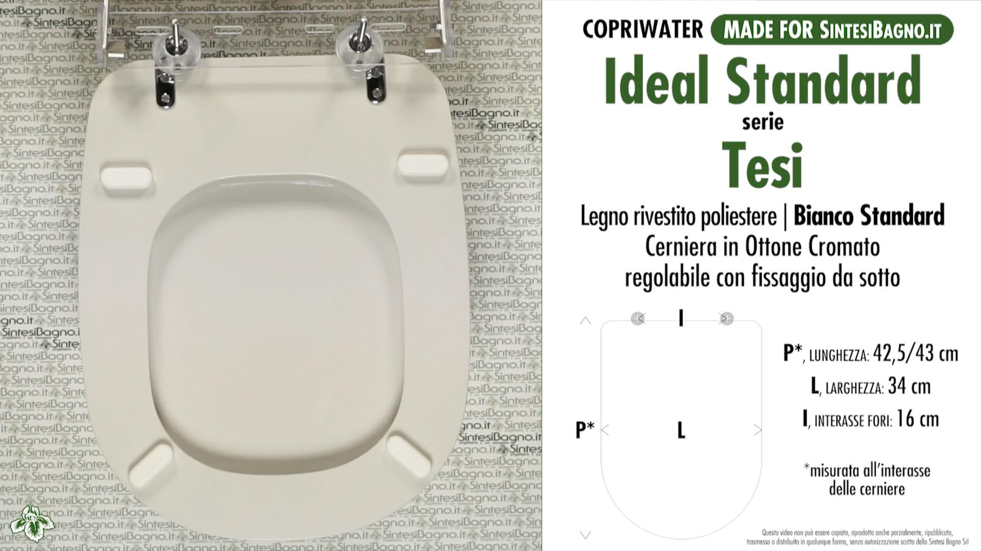 Copriwater per wc tesi ideal standard bianco standard for Ideal standard cantica copriwater