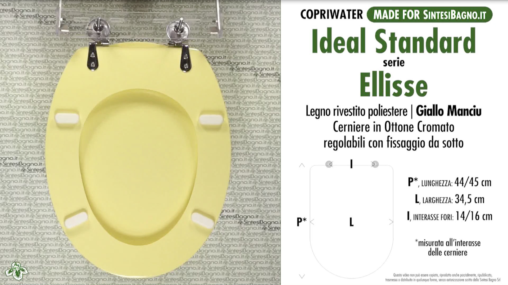 Copriwater per wc ellisse ideal standard giallo manciu for Misure copriwater ideal standard