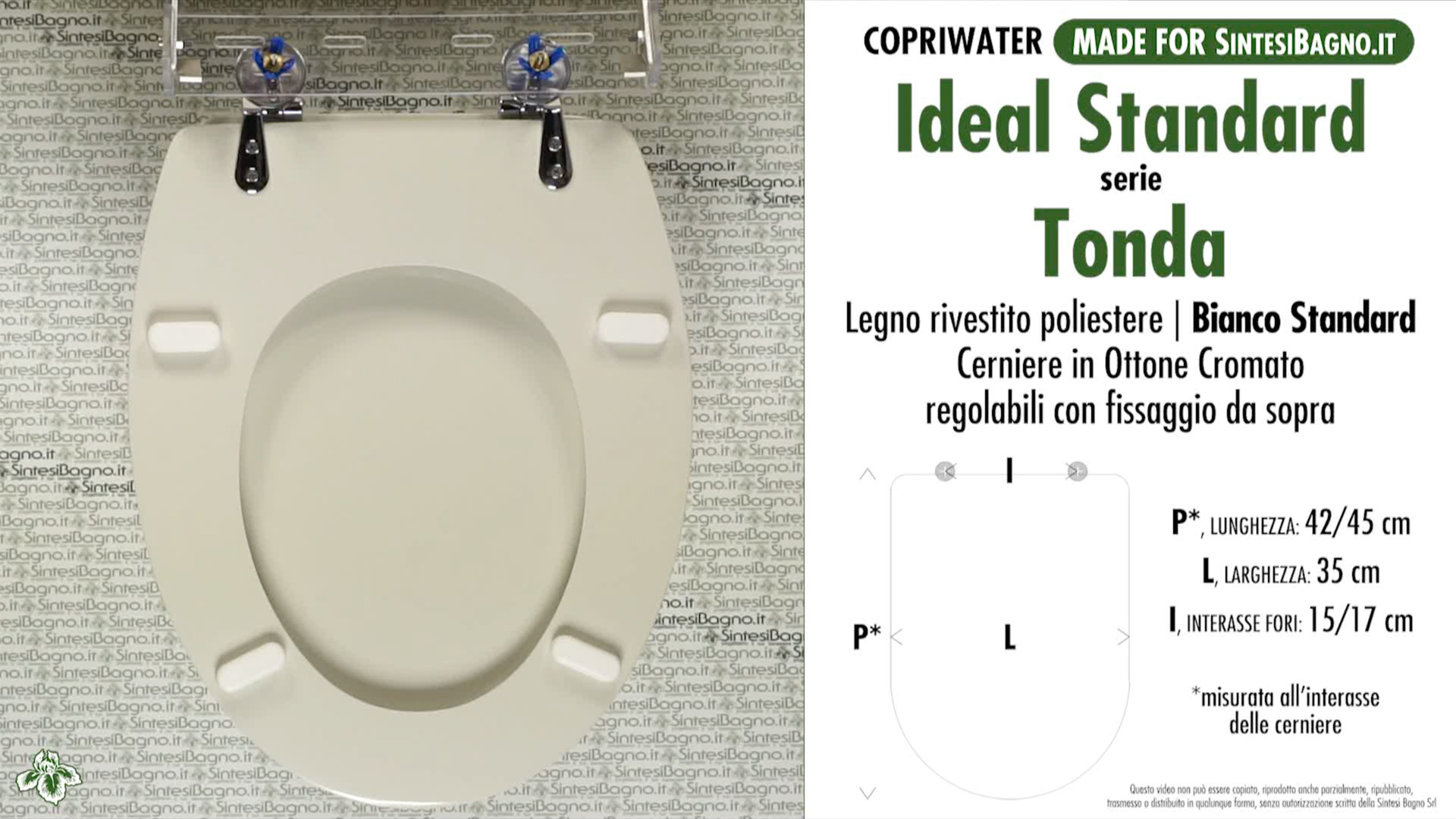 Sedile Wc Ideal Standard Serie Tonda.Copriwater Per Wc Tonda Ideal Standard Bianco Standard Ricambio Dedicato Sintesibagno Shop Online