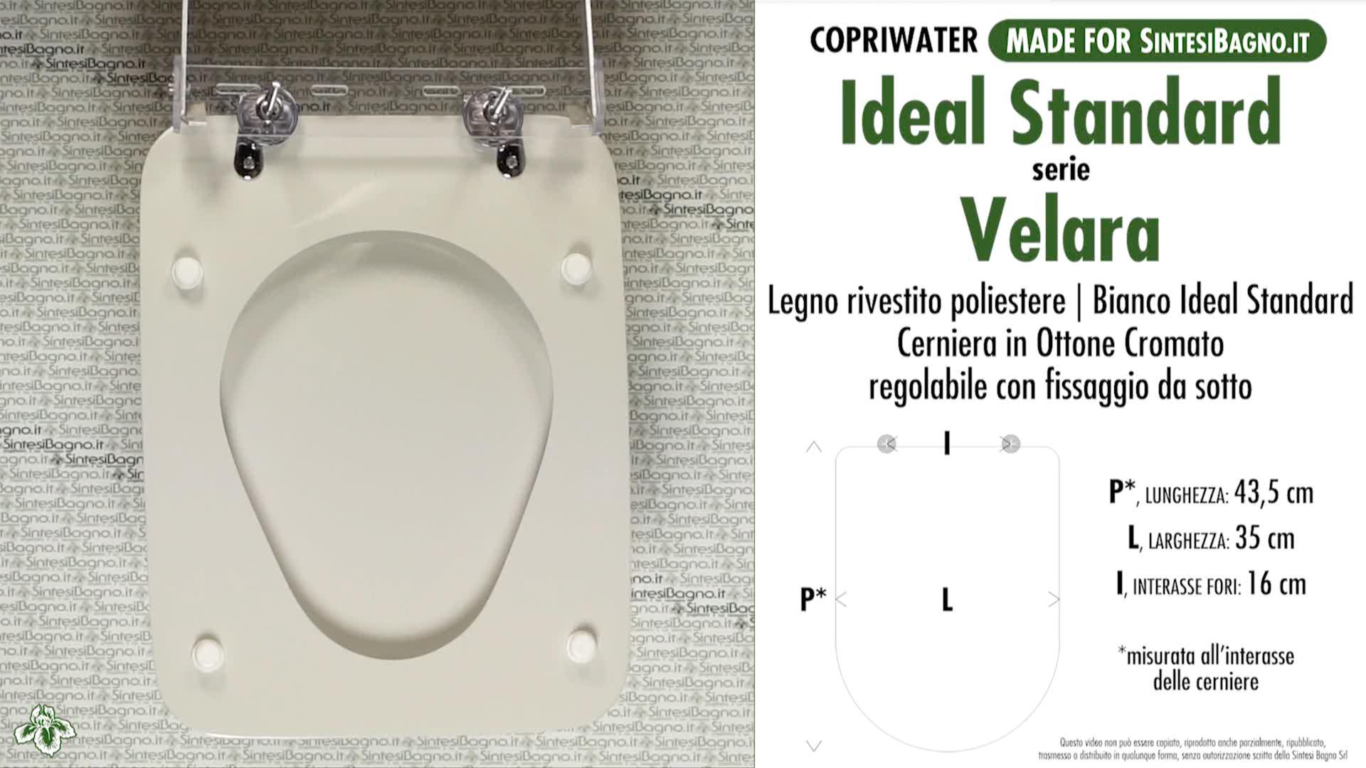 Copriwater per wc velara ideal standard bianco standard for Ideal standard cantica copriwater