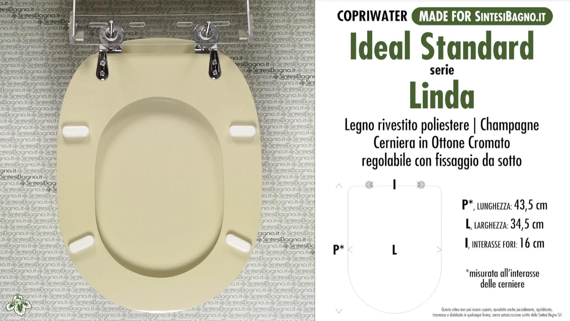 Copriwater per wc linda ideal standard champagne for Misure copriwater ideal standard