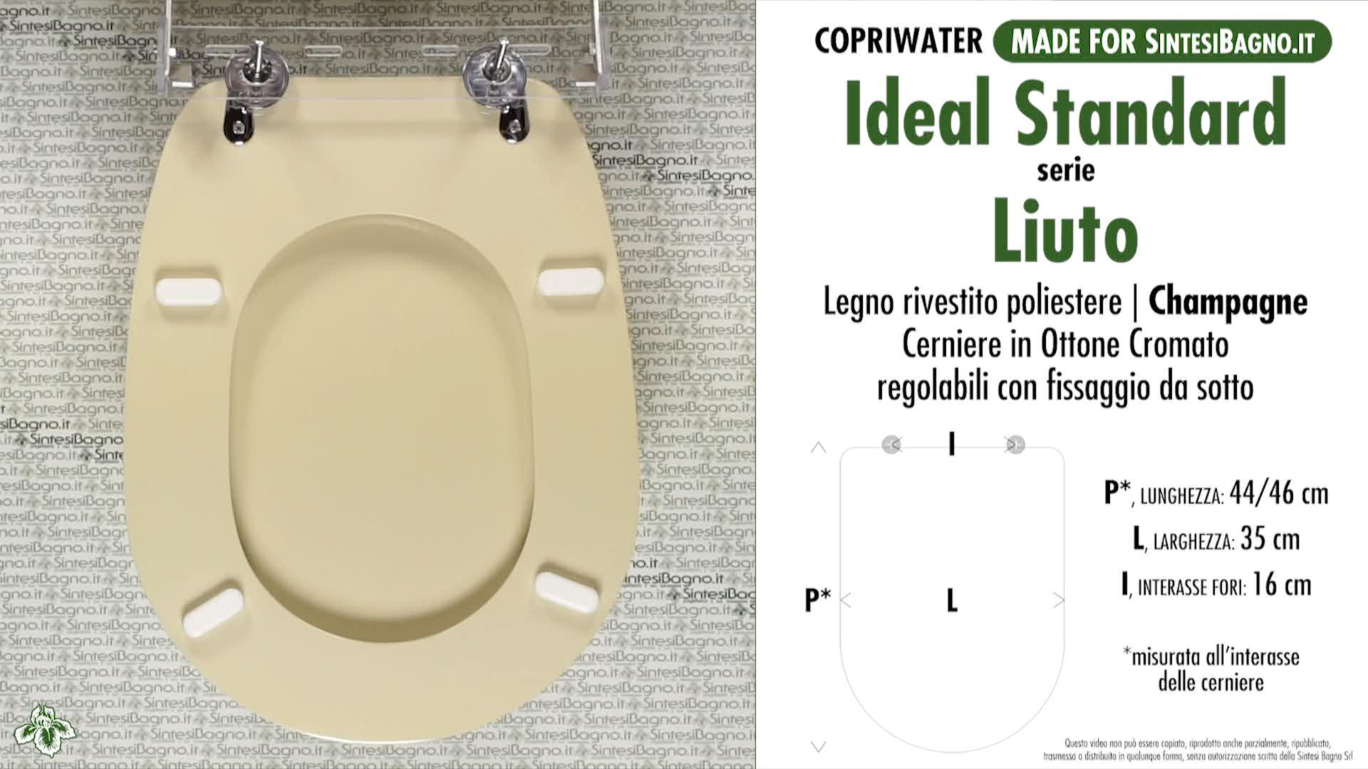 Massima qualita Garantita Copriwater dedicato per Serie Liuto Ideal Standard in Resina Poliestere colata Bianco Lucido Coperchio Sedile tavoletta per WC