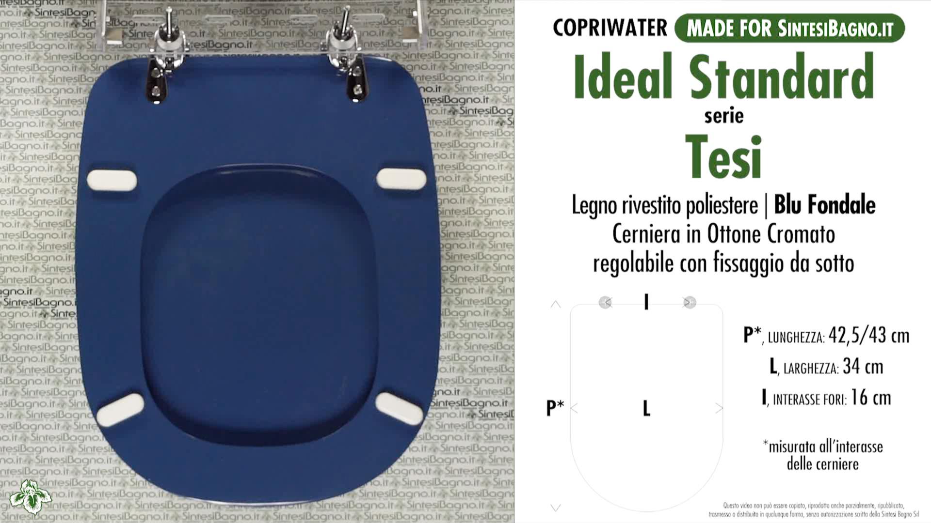 Sedile Wc Ideal Standard Serie Tesi.Copriwater Per Wc Tesi Ideal Standard Fondale Ricambio Dedicato Sintesibagno Shop Online