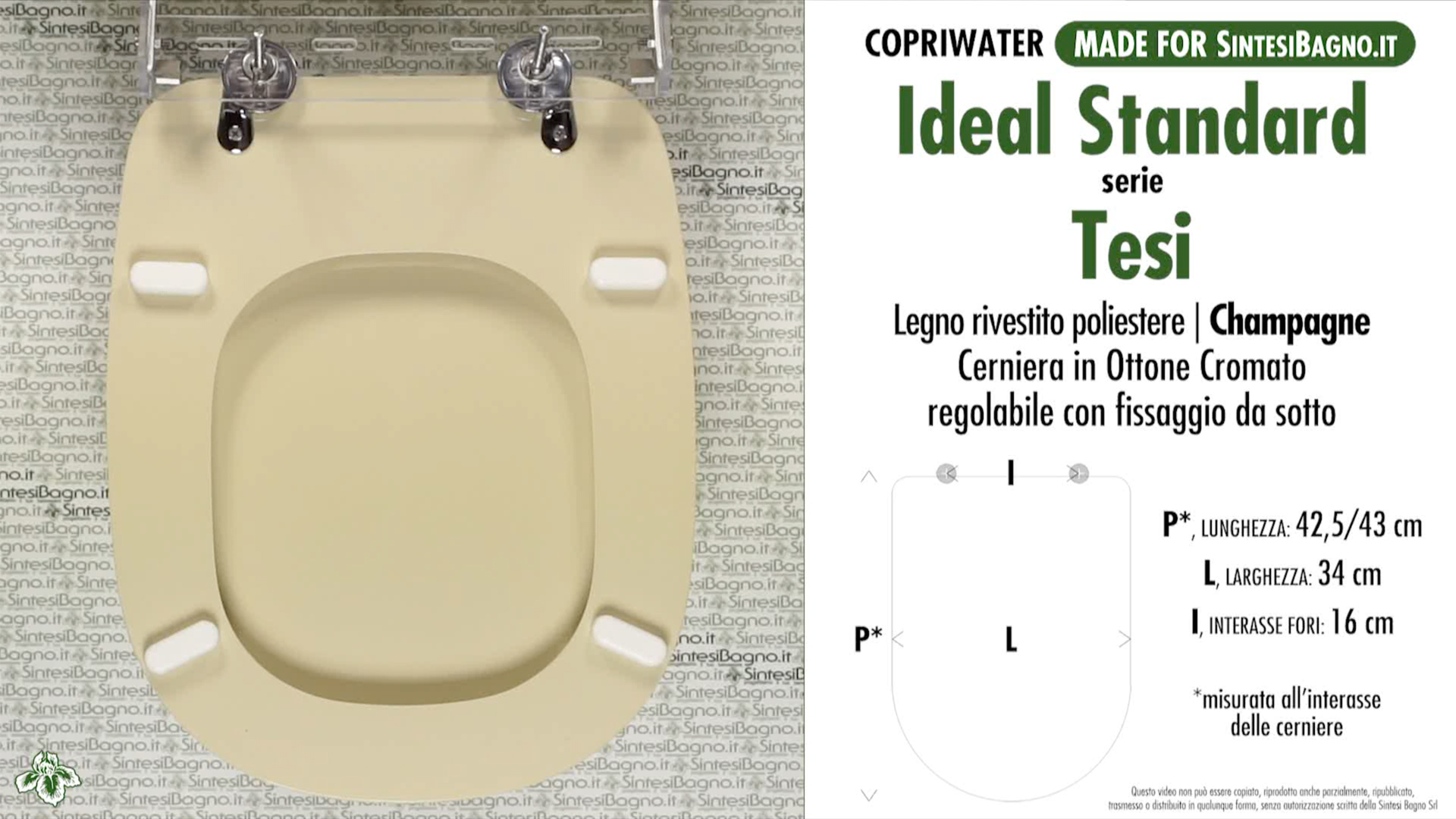 Wc Seat Made For Wc Tesi Ideal Standard Model Champagne Type Dedicated Sintesibagno Shop Online