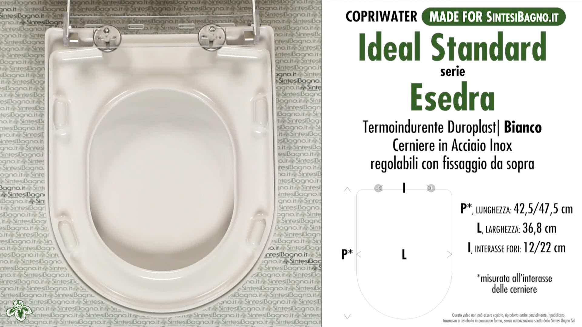 Copriwater Per Wc Esedra Ideal Standard Ricambio Dedicato Duroplast Sintesibagno Shop Online