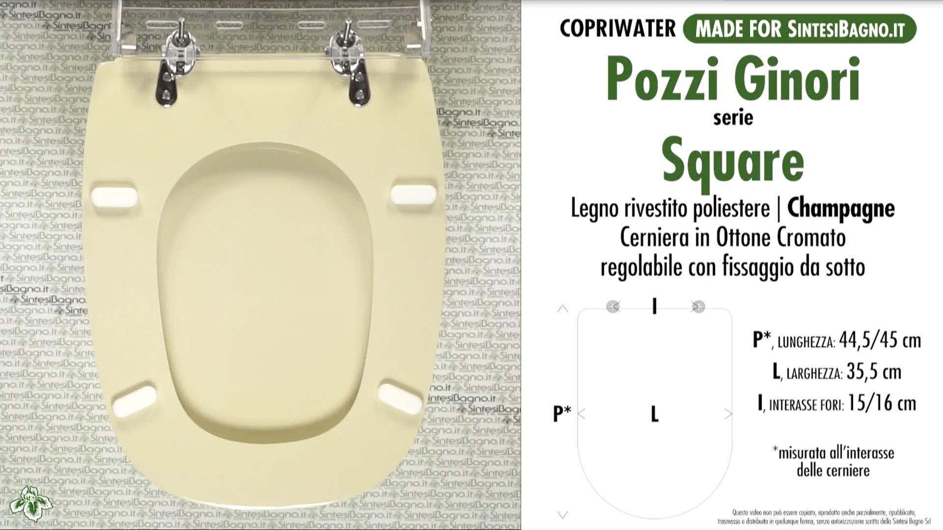 Sedile Per Water Pozzi Ginori.Copriwater Per Wc Square Pozzi Ginori Champagne Ricambio Dedicato Sintesibagno Shop Online