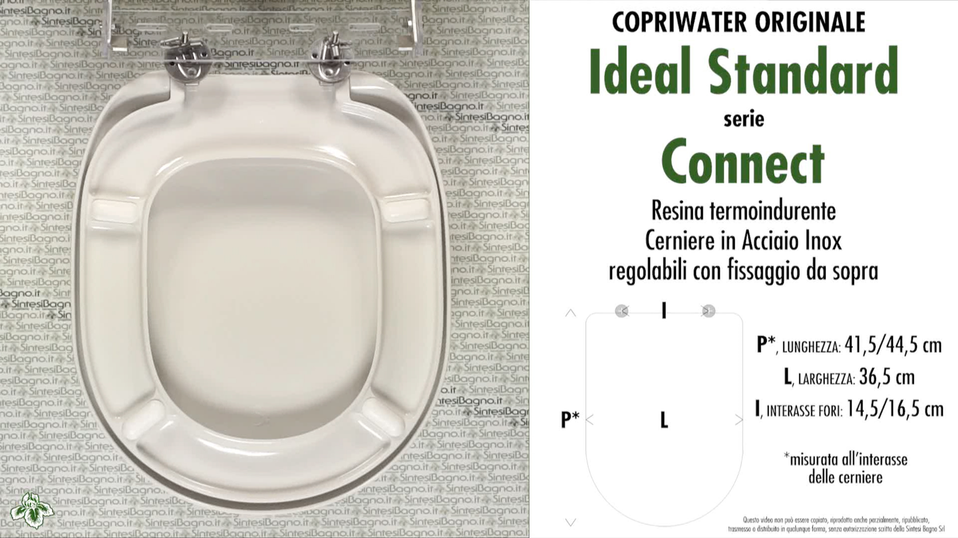 Copriwater per wc connect ideal standard ricambio for Misure copriwater ideal standard