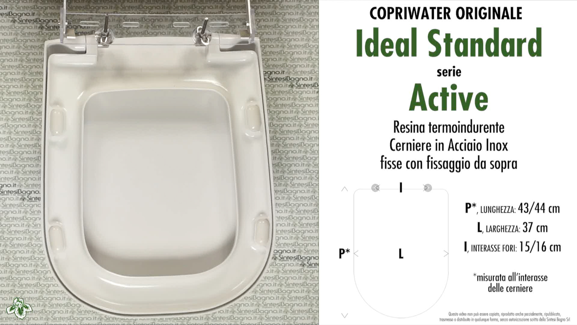 Copriwater per wc active ideal standard ricambio for Misure copriwater ideal standard
