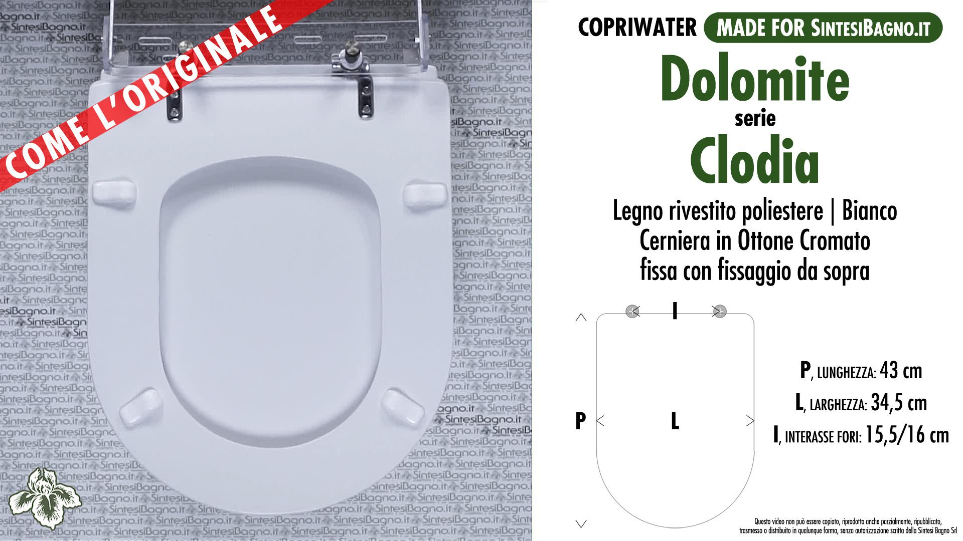 Sedile Wc Dolomite Clodia Prezzo.Copriwater Per Wc Clodia Dolomite Ricambio Come L Originale Legno Rivestito Sintesibagno Shop Online