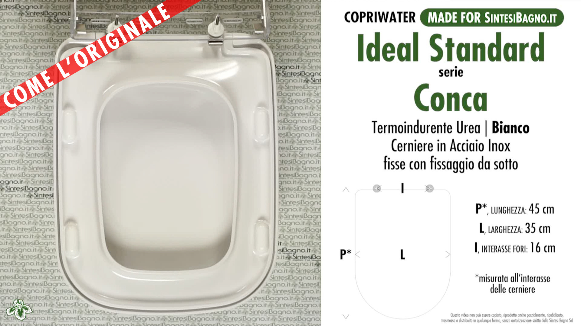 Sedile Conca Ideal Standard Originale.Copriwater Per Wc Conca Ideal Standard Ricambio Come L Originale Duroplast Sintesibagno Shop Online