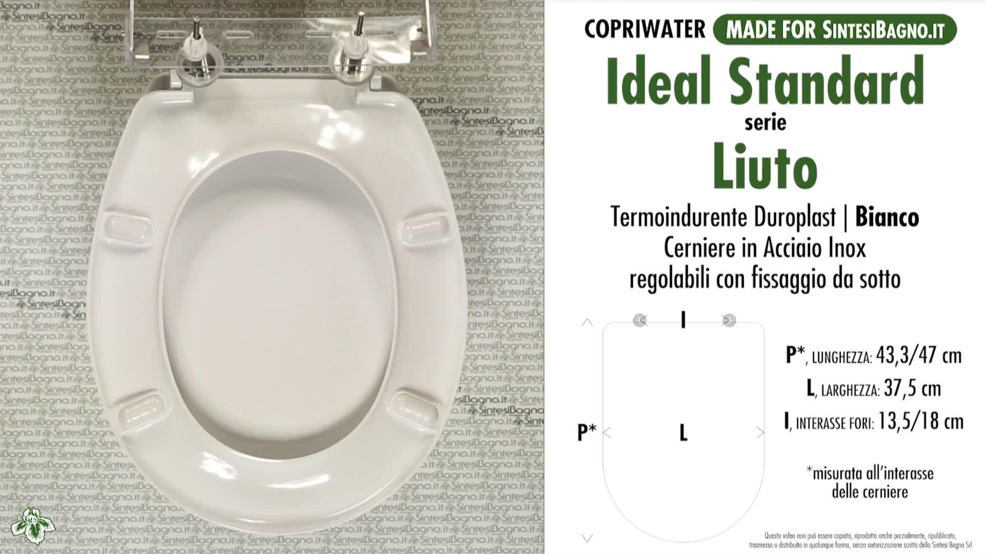 Sedile Wc Ideal Standard Liuto.Copriwater Per Wc Liuto Ideal Standard Ricambio Dedicato Duroplast Sintesibagno Shop Online