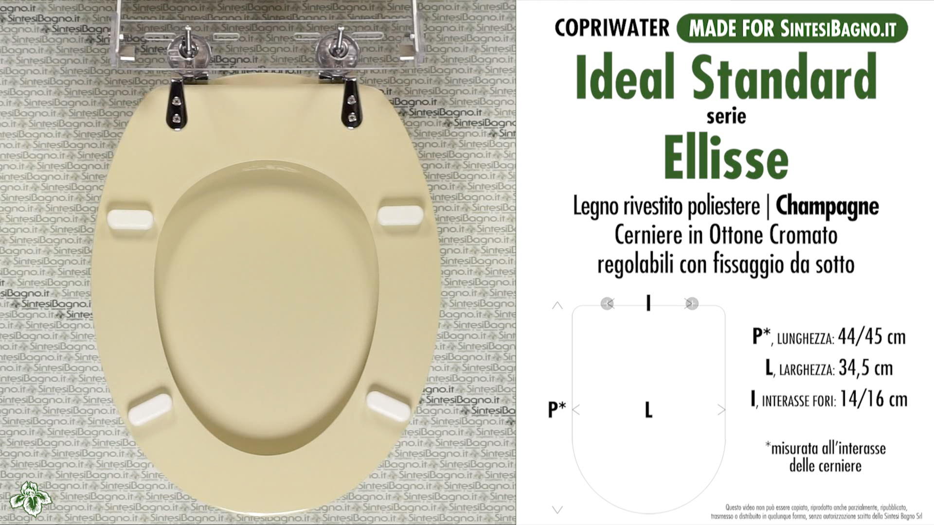 Copriwater per wc ellisse ideal standard champagne for Modelli water ideal standard