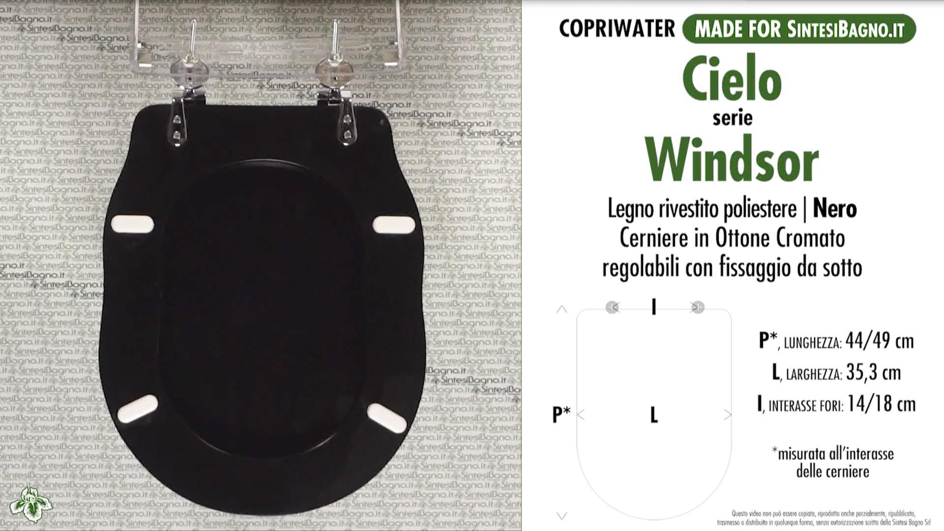 Ceramica Cielo Serie Windsor.Copriwater Per Wc Windsor Cielo Nero Ricambio Dedicato Legno Rivestito Sintesibagno Shop Online