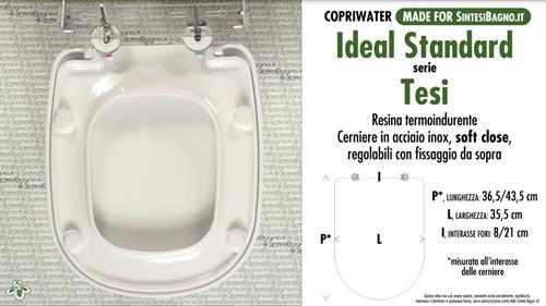 Sedile Water Ideal Standard Tesi.Copriwater Per Wc Tesi Ideal Standard Soft Close Ricambio Dedicato Duroplast Sintesibagno Shop Online