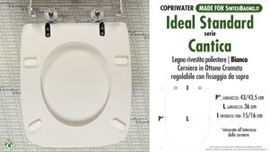 WC-Seat MADE for wc CANTICA IDEAL STANDARD Model. Type DEDICATED. Wood Covered