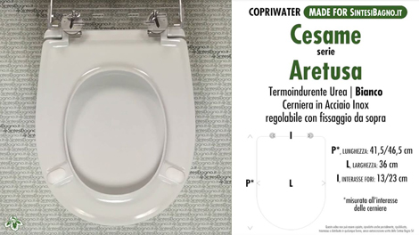 Scheda tecnica copriwater serie Aretusa Cesame